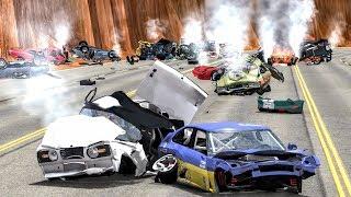 Massive Spike Strip Pileup Crashes #34 – BeamNG Drive   CrashBoomPunk
