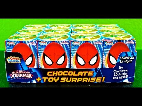 Opening 12 Spiderman Chocolate + Toy Surprises!
