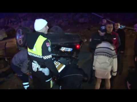 Otomobili İle Takla Atan Alkollü Kadın Sürücü Feryat Etti