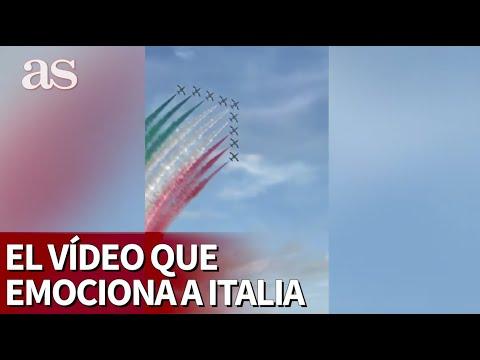 """El vídeo que emociona a Italia: cazas formando la bandera con Pavarotti de fondo: """"Venceremos"""""""