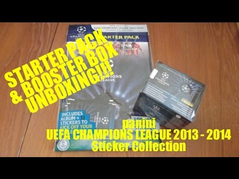 Opening BOOSTER BOX & STARTER PACK UEFA Champions League 2013 / 2014 STICKER COLLECTION panini