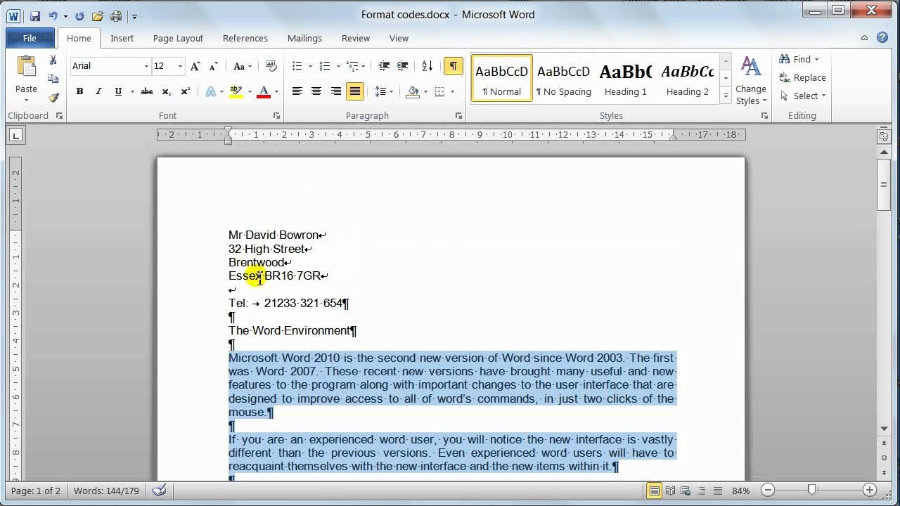 Microsoft Word 2010 Format Codes Tutorial 6 Youtube