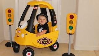 Baby Cab Driver Riding in the Lie Tikes Cozy Coupe Cab