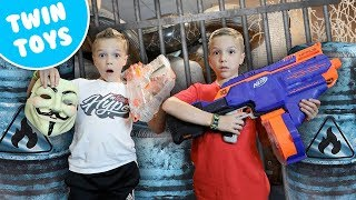 Nerf War:  Kidz Squad Uses BUNKR to Capture the GAME MASTER!