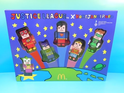 2014 DC JUSTICE LEAGUE XKOREJANAIROBO SET OF 6 McDONALD'S HAPPY MEAL KID'S TOY'S VIDEO REVIEW