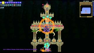 Terraria: Cannonball Pumpkin Moon Arena (bonus: 21 mechanical bosses annihilated)