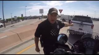 Police threatens to give motorcyclist ticket for honking horn