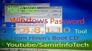 How to reset Windows password recovery 7,8..8.1.10  with Hiren's BootCD 2017