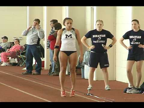 Sydni Wisniewski from Moravian College in the 2008 Landmark Conference Indoor Championships-Long Jump.