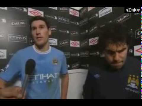 Carlos Tevez & Gareth Barry interview after Man Utd game