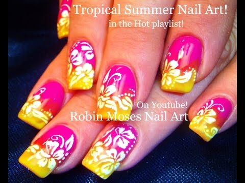 Neon Gradient Nails with White Flower Nail Art Design Tutorial