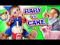 BABY vs CAKE! Shawn's 1st Birthday Party! Family Games & Acti...