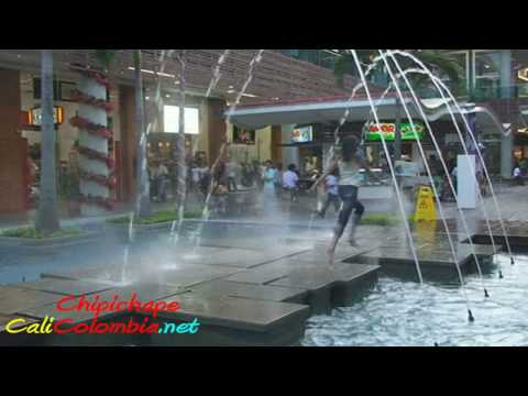 Wet Kid Falls in Water Fountain Chipichape Cali Colombia