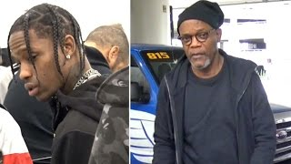 Travis Scott Goes Unnoticed Catching Same Flight As Samuel L. Jackson At LAX