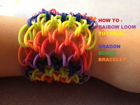rainbow loom dragon tail scales rubber band bracelet