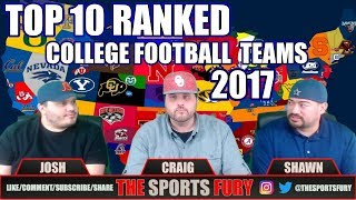 Top 10 Ranked College Football Teams for 2017