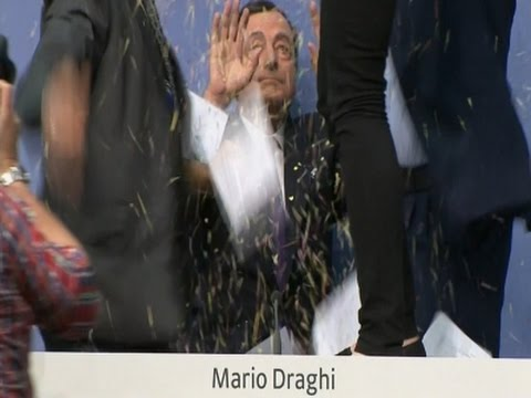 Raw: European Central Bank Chief Glitterbombed