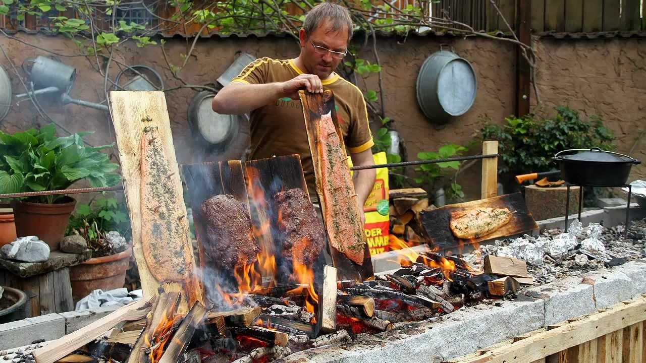 outdoor cooking jungbullen roastbeef vs lachs vom brett. Black Bedroom Furniture Sets. Home Design Ideas