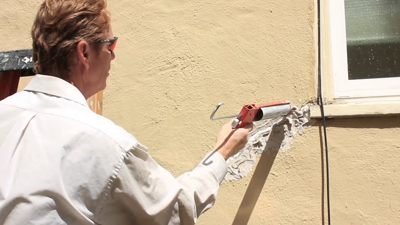 How to fix a large structural crack with polyurethane - How to repair exterior stucco cracks ...