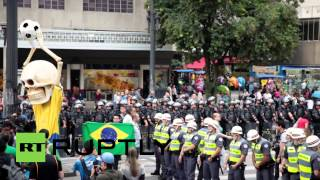 (Brazil) Anti-world cup protests rock Sao Paulo 2-weeks before kick-off  6/1/14