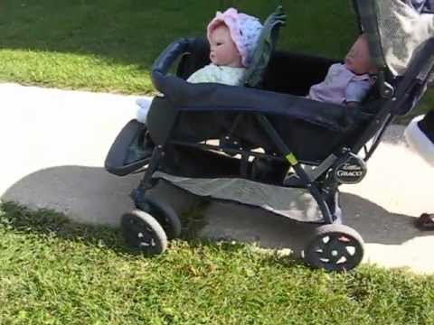 Pushing Reborn Baby Dolls In A Double Stroller Youtube