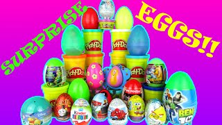 20 SURPRISE EGGS KINDER DISNEY CARS SPONGEBOB SPIDERMAN BEN 10 PLAY DOH EGG SURPRISES VIDEO