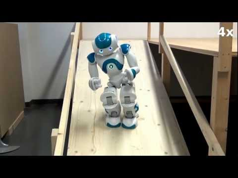 NAO humanoid walking down a ramp autonomously