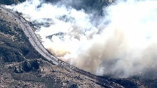 Aerial footage: Bush fire erupts along California's Simi Valley highway