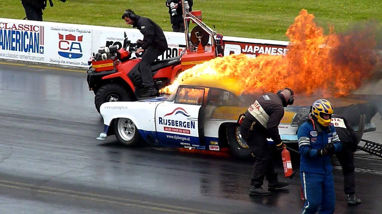 Santa Pod Main Event 2011 Engine Explosion And Car Fire