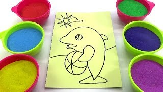 Cả tuần đều ngoan!Nhạc Thiếu Nhi!Đồ chơi trẻ em TÔ MÀU TRANH CÁT HÌNH CÁ HEO Color Sand Paint