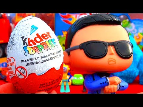 PSY Opens a Kinder Surprise Egg GANGNAM STYLE & Cookie Monster Dancing Psy싸이 Toy Review 강남스타일