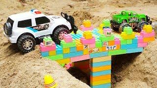 Bridge Construction Vehicles, Dump Trucks, Police Car, Excavator Truck Blocks Toys for Children