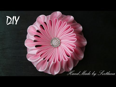 Цветок из ленты Канзаши DIY Flower of ribbon Kanzashi