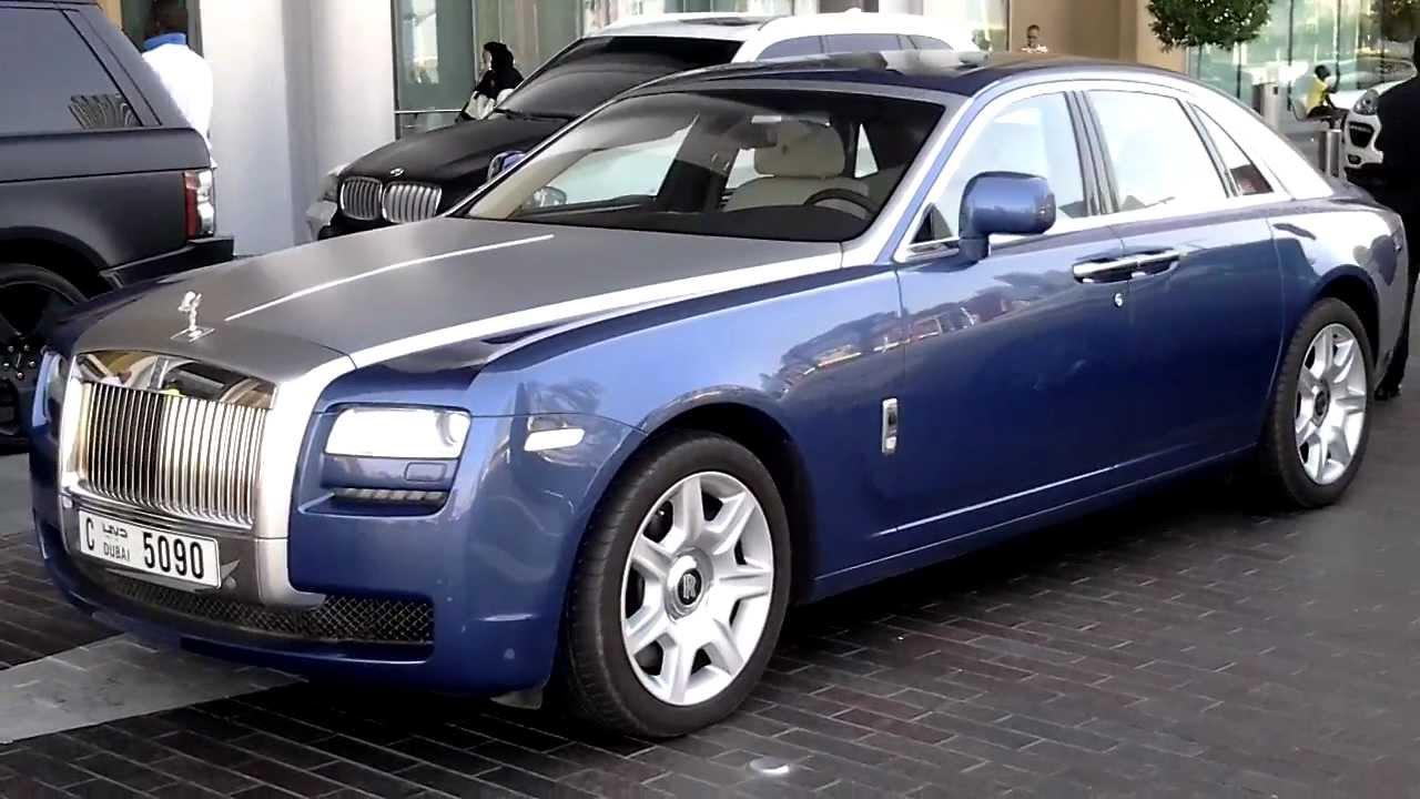 Blue silver rolls royce ghost parking at dubai mall valet parking dubai uae youtube