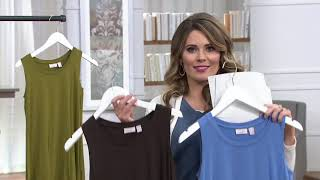 LOGO Layers by Lori Goldstein Knit Tank w/ Rollercoaster Lace Hem on QVC