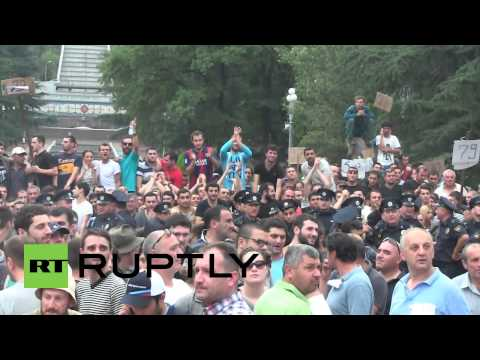 Georgia: Football fans scuffle with police in rush to buy UEFA Super Cup tickets
