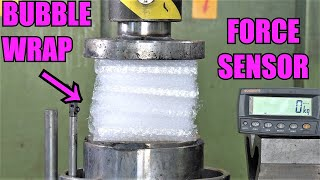 How Strong is Bubble Wrap? Hydraulic press test!