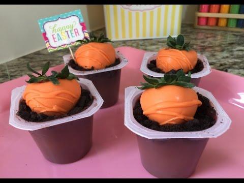 Easter Strawberry Carrots In Dirt Cup(How To) - Húsvéti répák készítése eperből