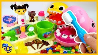 Baby Shark and Baby Hippo Go to the Dentist! pinkfong Tooth Play Set. Fun Videos for Kids | WeToy
