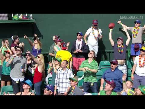 In the third round of the 2013 Waste Management Phoenix Open, Padraig Harrington kicks an American football for the first time ever into the stands on the pa...