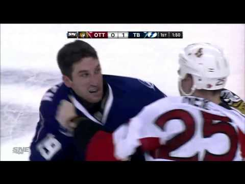 Chris Neil fights B.J. Crombeen. Ottawa Senators @ Tampa Bay Lightning