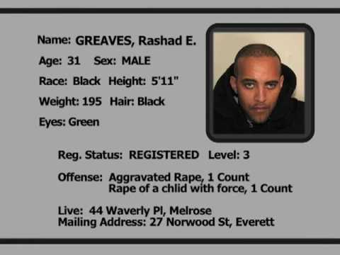 0 A 2009 list of Massachusetts sex offenders in Everett, Massachusetts.
