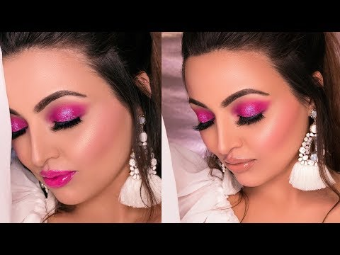 Hot Pink Glittery Smokey Eye Makeup Tutorial