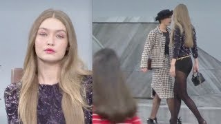 Marie S'Infiltre gets kicked out from Chanel Runway by Gigi Hadid
