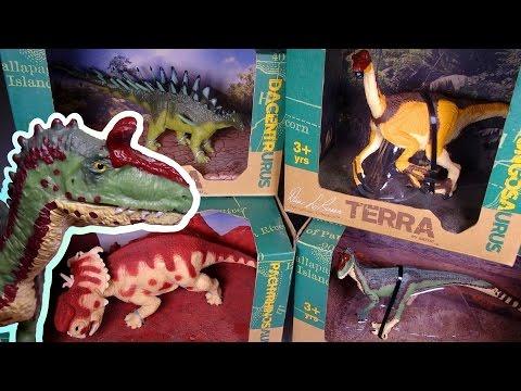 Opening 4 Dinosaur figures! Pachyrhinosaurus, Cryolophosaurus, Dacentrurus, Nanshiugosaurus BATTAT