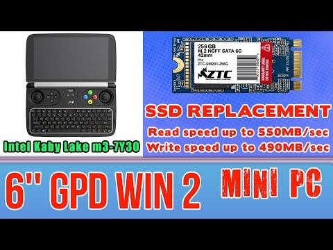 GPD WIN 2 SSD replacement to 256GB ZTC Armor - 8GB RAM Mini PC Intel m3-7Y30 HD Graphics 615