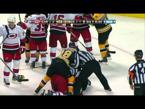 Carolina Hurricanes VS Boston Bruins Fights-10-18-11