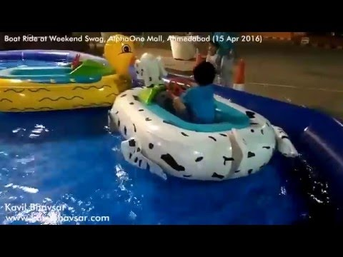 Kids Boat Ride at Weekend Swag Alpha One Mall Ahmedabad Kavil in Boat