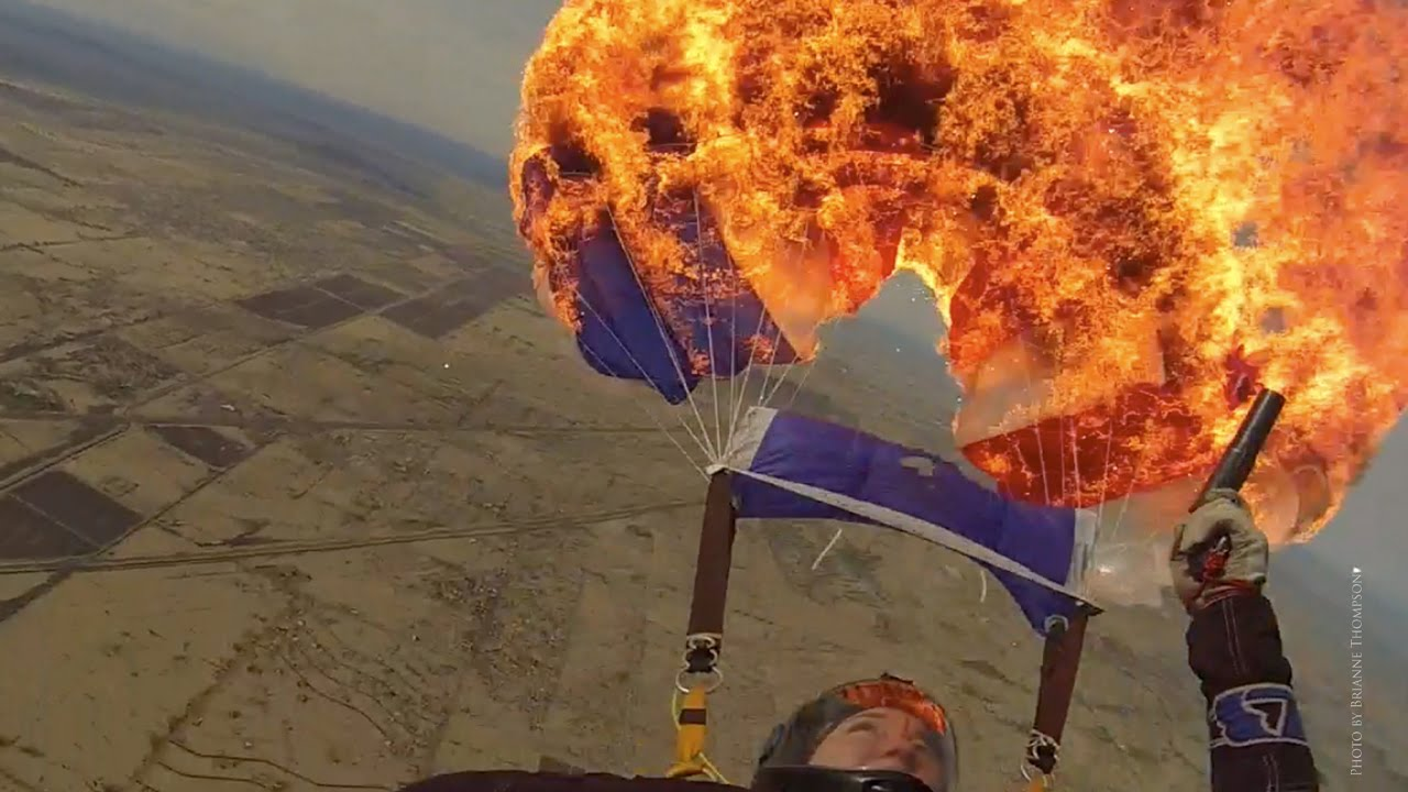 Skydiver Lights Up Their Parachute