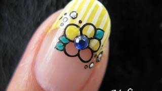 Konad Stamping Nail Art Tutorial - I Dream of Daffodil Yellow Flower Spring Easter Design French Tip